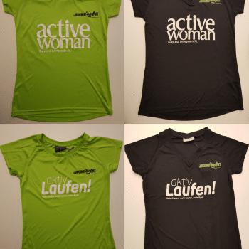 """<h3>Laufshirt Jogging Point</h3><p><ul><li>Lauf-Shirt von Jogging-Point</li><li>1. Damen Shirt oder Herren Shirt. 2. Aufdruck: active woman oder aktiv Laufen!. 3. Größen: S, M, L. 4. Farben: grün oder schwarz.</li><li>Bitte machen Sie beim Formular im Feld """"Bemerkungen"""" alle 4 Angaben. Vielen Dank!</li></ul></p>"""