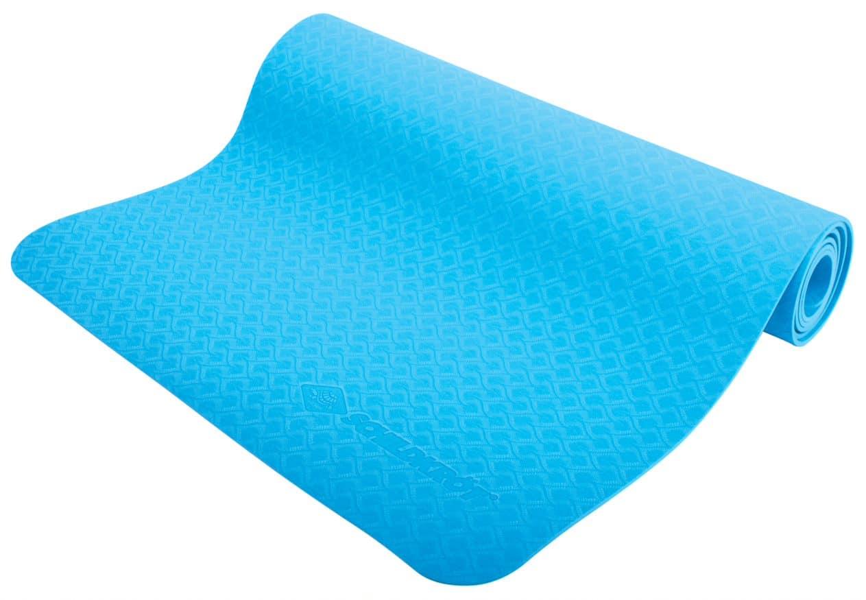 <h3>Yogamatte</h3><p>Blau, 4mm, PVC-frei, im Carrybag. Yogamatte aus PVC-freiem und rutschfestem Kunststoff/Schaum (TPE) mit griffiger strukturierter Oberfläche.<p>Abmessungen: 183 x 61 x 0,4 cm, Farbe: Grün. <p>Die Matte eignet sich für Yoga- oder sonstige Bodenübungen und gibt ein angenehmes Gefühl durch eine weiche Oberfläche und gute Dämpfung. Abwaschbar, leicht einzurollen und bequem in mitgeliefertem Tragesystem mit Griff und Klettverschluss zu transportieren.</p>